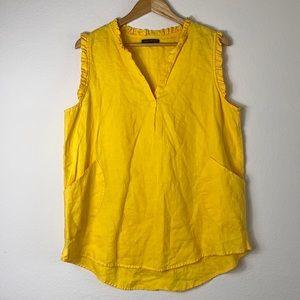 For Cynthia women's yellow linen ruffle tunic